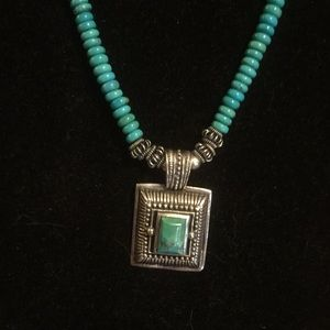 Barse Sterling and Turquoise Necklace with Pendant